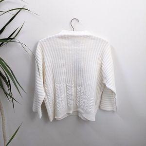 Massimo Dutti Cream Cable Knit Sweater